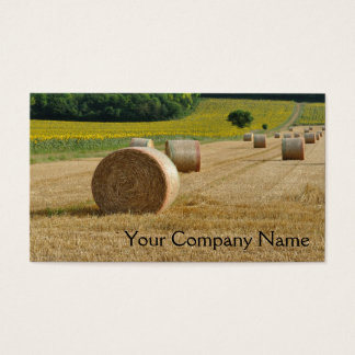 Agricultural straw bales in a field business card