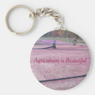 Agriculture is Beautiful - Cranberry Style Basic Round Button Keychain