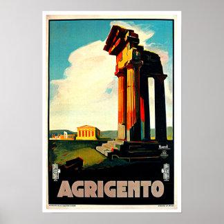 Agrigento Sicily Italy Travel Art Poster