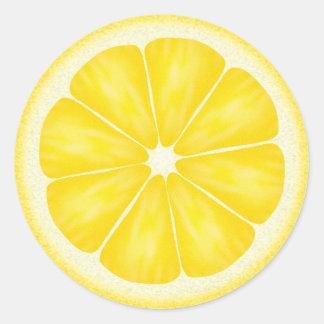 Agrumes jaunes de citron sticker rond
