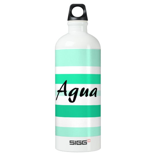 """Agua"" Water Bottle with Green and Aqua Stripes"
