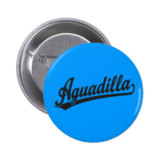 Aguadilla script logo in black 2 inch round button