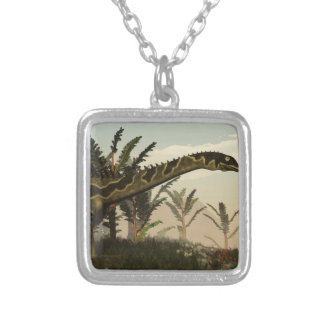 Agustinia dinosaur - 3D render Silver Plated Necklace