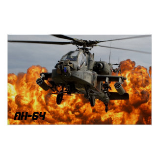 AH-64 APACHE HELICOPTER POSTER