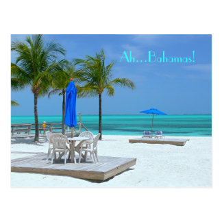 """AH...BAHAMAS""AQUAMARINE WATER/WHITE SAND/PALM TRE POSTCARD"