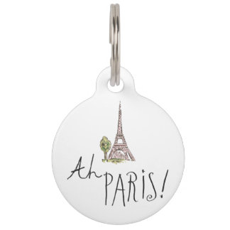 Ah Paris! Quote | With Effiel Tower Pet Name Tag