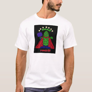 AH- Pickle Power Superhero Pickleball Cartoon T-Shirt