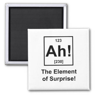 Ah! The Element of Surprise Square Magnet
