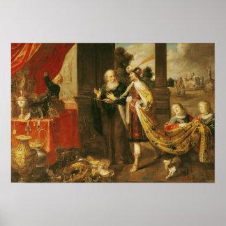 Ahasuerus Showing his Treasure to Mordecai Poster