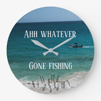 Ahh Whatever - Gone Fishing - Large Clock