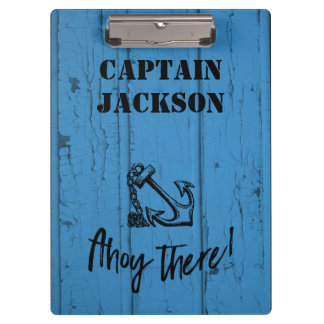 Ahoy! Anchor on Old Peeling Blue Wood Design Clipboards
