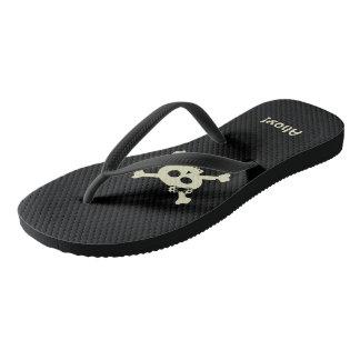 Ahoy! Cute Lady Pirate Skull Black Flip Flops