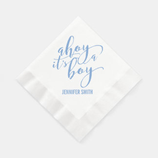 Ahoy It's A Boy Nautical Baby Shower Sip and See Paper Napkin