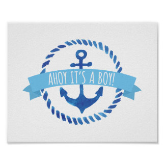 Ahoy It's a Boy Baby Shower Sign Poster