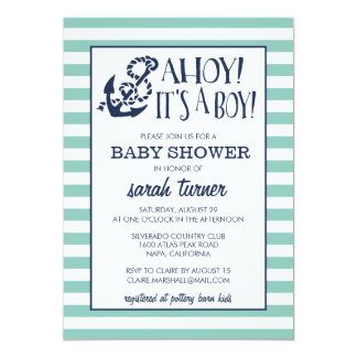 Ahoy, It's a Boy! Nautical Baby Shower Card