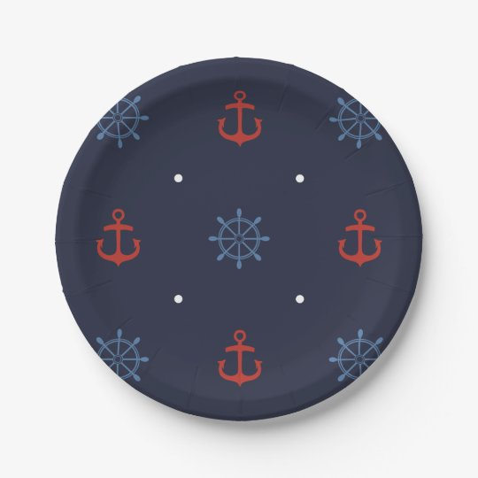 Ahoy It's a Boy Nautical Baby Shower Plates 7 Inch Paper Plate