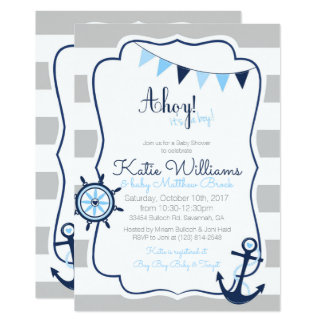 Ahoy its a Boy Nautical Blue Gray Baby Shower Card