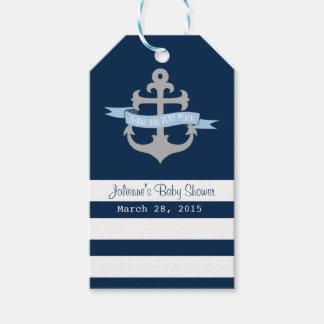 Ahoy it's a boy Nautical Favor Tags Navy Blue