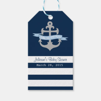 Ahoy it's a boy Nautical Favor Tags Navy Blue Pack Of Gift Tags