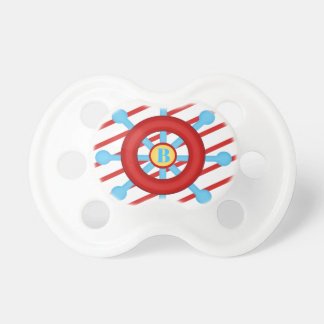 Ahoy it's a Boy Wheel Sailor Stripes Red Pacifier