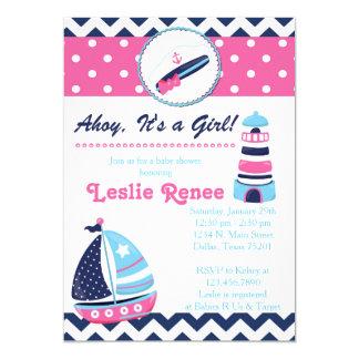 Ahoy, It's a Gir Lighthouse Baby Shower Invitation