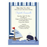 Ahoy Mate Blue Stripe Whale Baby Shower 5x7 Announcements