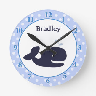 Ahoy Mate Navy Blue Whale Wall Clock