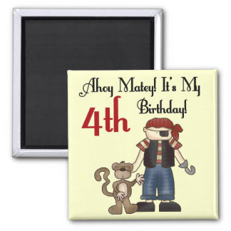 Ahoy Matey Pirate 4th Birthday Tshirts and Gifts Magnet