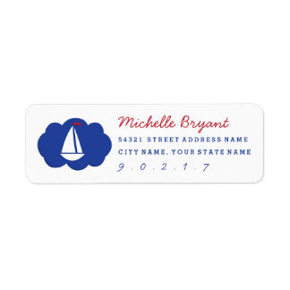 Ahoy Matey Sailboat Red White Blue Address Label