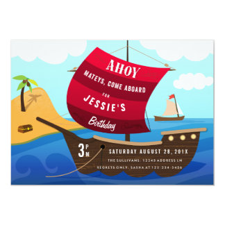 Ahoy Mateys Pirate Ship Kids Birthday Invitation