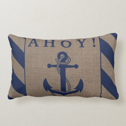 Ahoy! Nautical Anchor Navy Blue & Burlap Stripes Lumbar Pillow