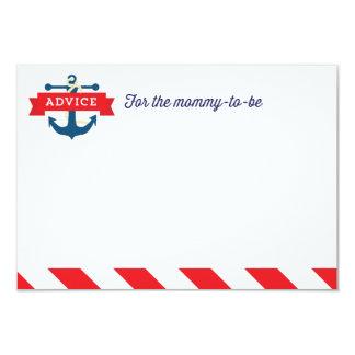 "Ahoy! Nautical Baby Shower Advice Card Game 3.5"" X 5"" Invitation Card"