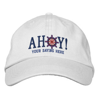 AHOY! Nautical Greetings Embroidery Embroidered Hats