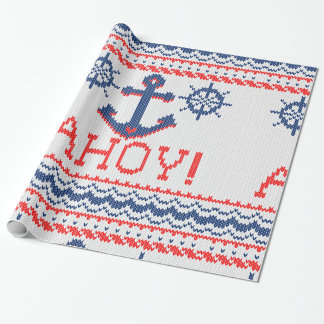 AHOY Nautical Knit Christmas Sweater Style Wrapping Paper