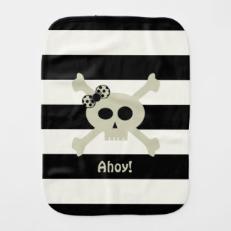 Ahoy! Pirate Skull Stripe Personalized Burp Cloth