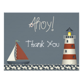 Ahoy Sail Boat Lighthouse Thank You Note Cards Announcement
