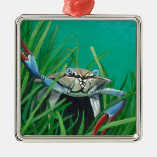 Ahoy There Meet The Under Water Sea Crab Silver-Colored Square Ornament