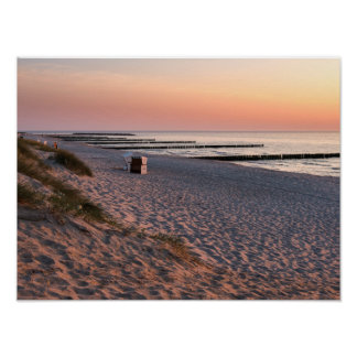 Ahrenshoop beach sunset poster