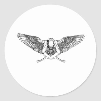 Ahura winged disk skull round sticker