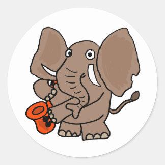 AI- Elephant Playing Saxophone Cartoon Classic Round Sticker