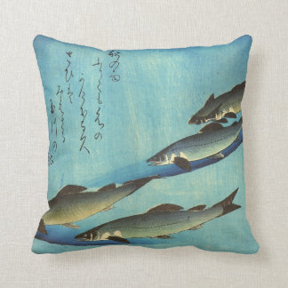 Ai (Trout) - Hiroshige's Japanese Fish Print Throw Pillow