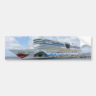 AIDAluna cruise ship anchered off Grenada island Bumper Sticker