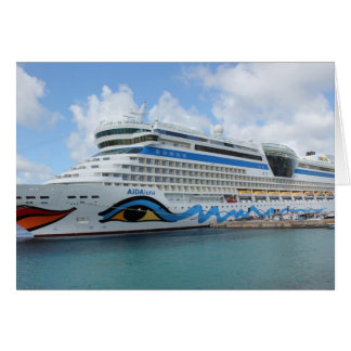 AIDAluna cruise ship anchered off Grenada island Card