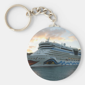 AIDAluna Cruise Ship in Road Town on Tortola Keychain