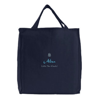 Aidan Name With Gaelic Meaning Navy Embroidered Tote Bag
