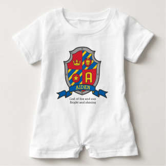 Aiden boys name & meaning knights shield baby romper