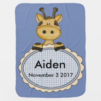 Aiden's Personalized Giraffe Receiving Blanket