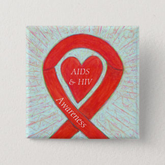 AIDS and HIV Awareness Heart Ribbon Customized Pin