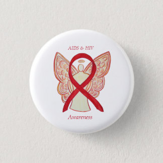 AIDS and HIV Awareness Ribbon Angel Customized Pin