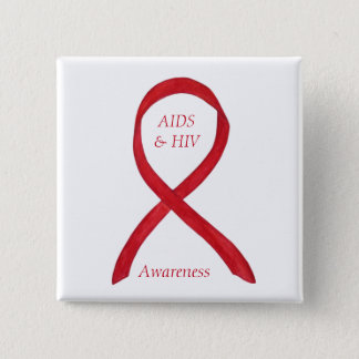 AIDS and HIV Awareness Ribbon Customized Pin